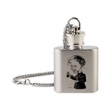 Marie Curie, caricature - Flask Necklace
