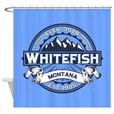 Whitefish Logo Blue Shower Curtain