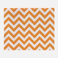Orange chevron stripes Throw Blanket