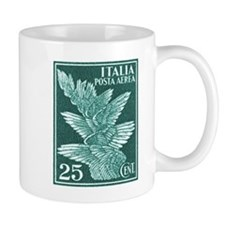 Antique 1932 Italy Airmail Wings Postage Stamp Mug