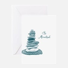 Be Mindful Cairn Rocks Greeting Card