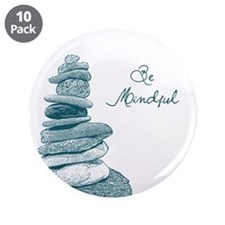 "Be Mindful Cairn Rocks 3.5"" Button (10 pack)"