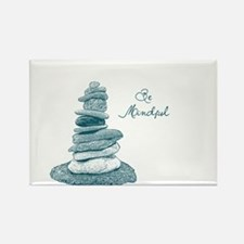 Be Mindful Cairn Rocks Rectangle Magnet