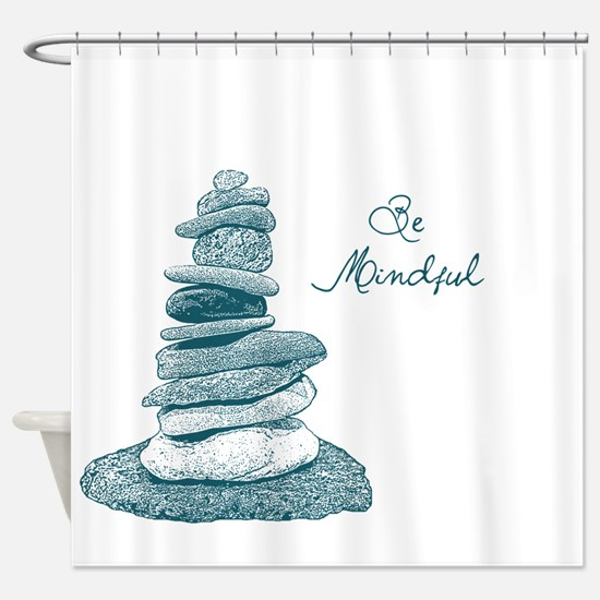 Be Mindful Cairn Rocks Shower Curtain