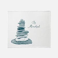 Be Mindful Cairn Rocks Throw Blanket