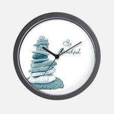 Be Mindful Cairn Rocks Wall Clock