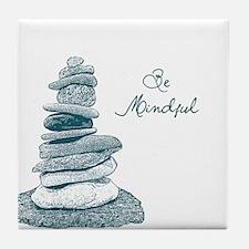 Be Mindful Cairn Rocks Tile Coaster