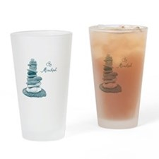 Be Mindful Cairn Rocks Drinking Glass