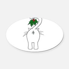 Season's Greetings From Our Cat Oval Car Magnet