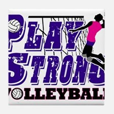 GirlsVolleyBallSlamTee Tile Coaster