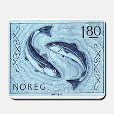 Vintage 1977 Norway Cod Postage Stamp Mousepad