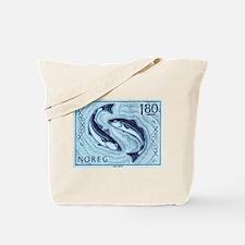 Vintage 1977 Norway Cod Postage Stamp Tote Bag