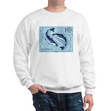 Vintage 1977 Norway Cod Postage Stamp Sweatshirt