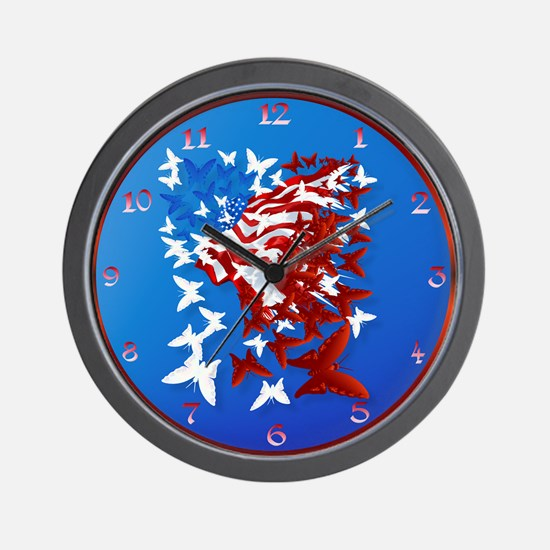 The Butterfly Flag Wall Clock
