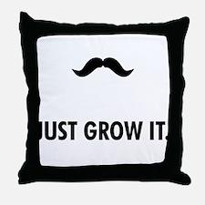 Grow A Mustache Throw Pillow