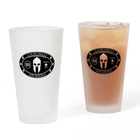 Armed Thinker - III B&W Drinking Glass