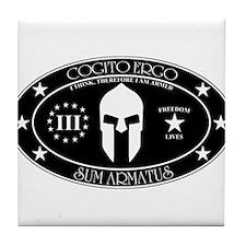 Armed Thinker - III B&W Tile Coaster