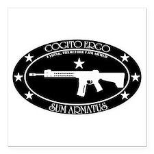 "Armed Thinker - Rifle B&W Square Car Magnet 3"" x 3"