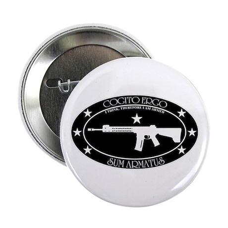 "Armed Thinker - Rifle B&W 2.25"" Button"