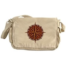 Compass Rose Wood Messenger Bag