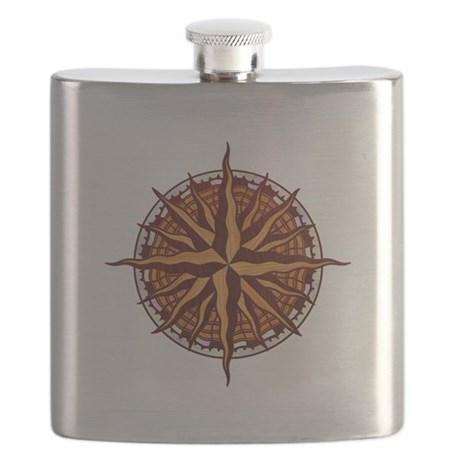 Compass Rose Wood Flask