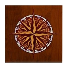Compass Rose Wood Tile Coaster