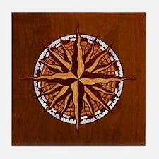 Compass Rose Wood Tile Coaster