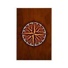 Compass Rose Wood Rectangle Magnet