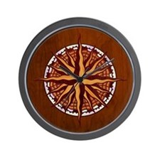 Compass Rose Wood Wall Clock