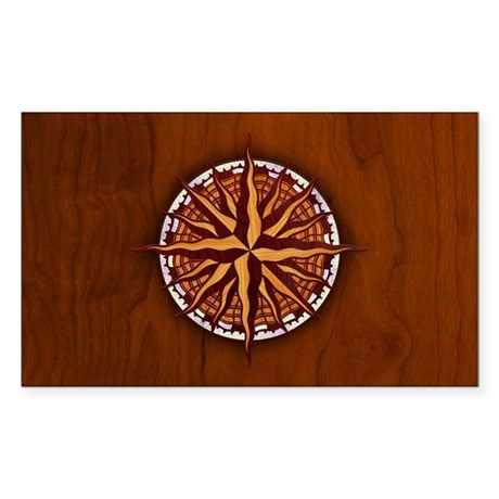 Compass Rose Wood Sticker (Rectangle)