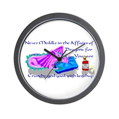 Never Meddle Dragon Wall Clock
