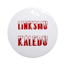 Linksmu Kaledu Ornament (Round)