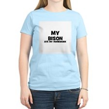 My Bison Ate My Homework Women's Pink T-Shirt