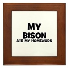 My Bison Ate My Homework Framed Tile