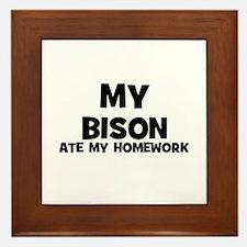 My Bison Ate My Homework Framed Tile