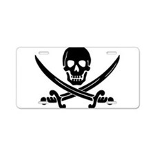 black skull and crossbones Aluminum License Plate