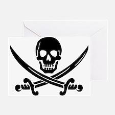 black skull and crossbones Greeting Card