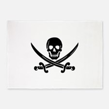 black skull and crossbones 5'x7'Area Rug