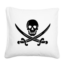 black skull and crossbones Square Canvas Pillow