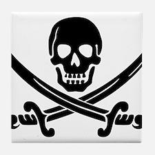 black skull and crossbones Tile Coaster