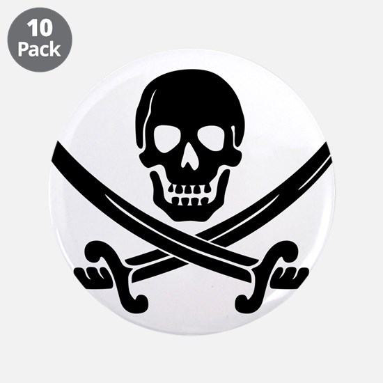 "black skull and crossbones 3.5"" Button (10 pack)"