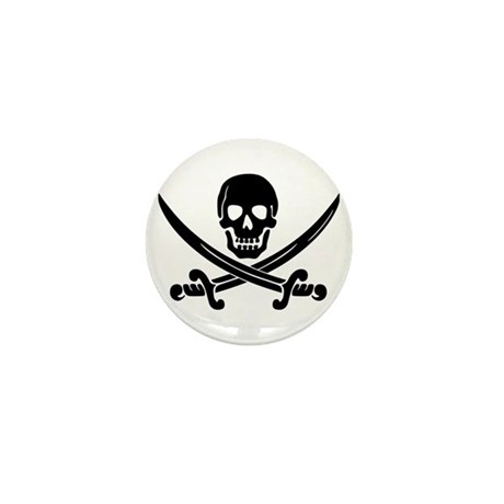 black skull and crossbones Mini Button (10 pack)