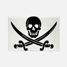 black skull and crossbones Rectangle Magnet (100 p