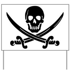 black skull and crossbones Yard Sign