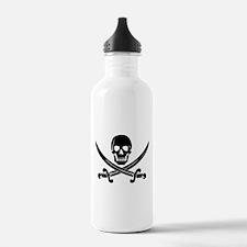 black skull and crossbones Water Bottle