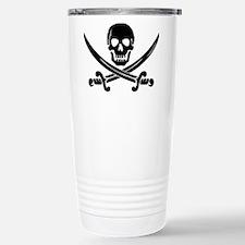 black skull and crossbones Travel Mug