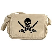 black skull and crossbones Messenger Bag