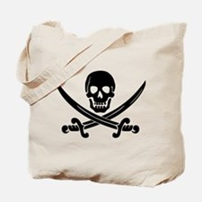 black skull and crossbones Tote Bag