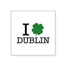 "I Shamrock Dublin Square Sticker 3"" x 3"""