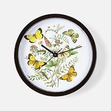 French Butterflies Wall Clock